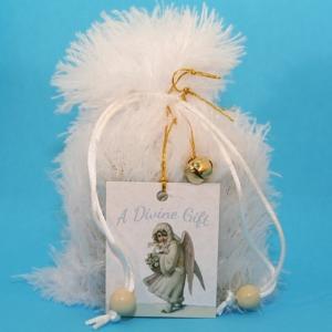 Custom Goody Bag - White Fur w/Angel