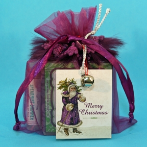 Custom Goody Bag-Purple Feather w/Santa